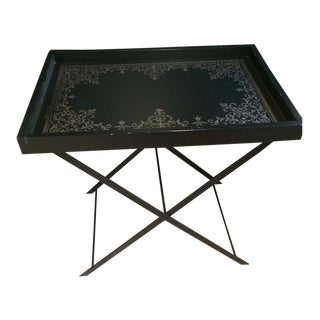 Transitional Black Tray Table With Foldable Base Coffee Table
