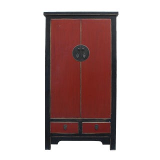 Chinese Distressed Black and Red Moon Face Storage Cabinet