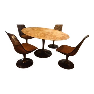 Mid-Century Modern Chromcraft Amber Acrylic Dining Set With Shag Fabric Chairs and Faux Marble Top