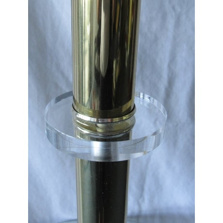 Image of Brass Plated Floor Lamp With Glass Tray