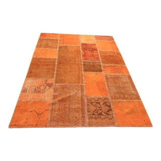 Vintage Turkish Overdyed Patchwork Oushak Rug - 4′11″ × 6′8″