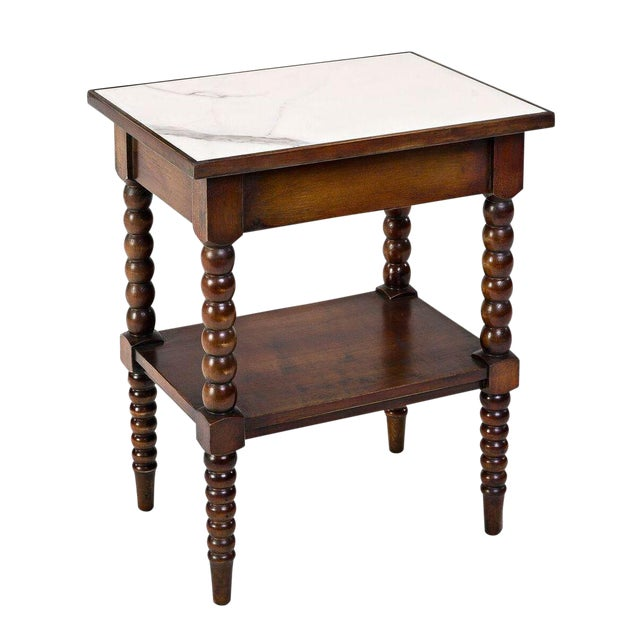 Sarreid LTD Calacatta Marble Top Side Table - Image 1 of 2
