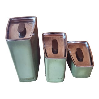 Vintage Avocado Green Kitchen Canister - Set of 3