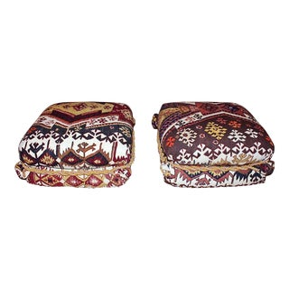 Kilim Upholstered Ottoman Poufs - a Pair