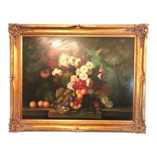 A Palatial Framed Oil On Canvas Still Life Of Flowers