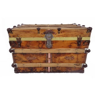 Antique Rustic Pine Box Trunk