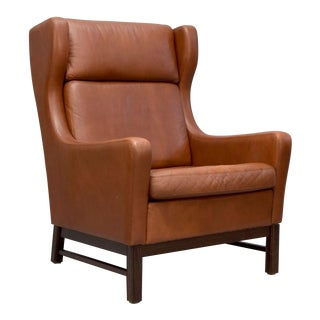 Danish Modern Leather Wingback Lounge Chair