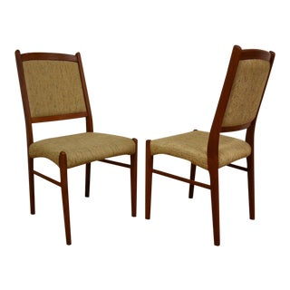 Mid-Century Upholstered Teak Dining Chairs - A Pair