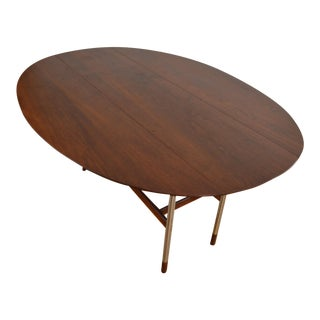 Arne Vodder Attr Aluminum & Walnut Drop Leaf Dining Table