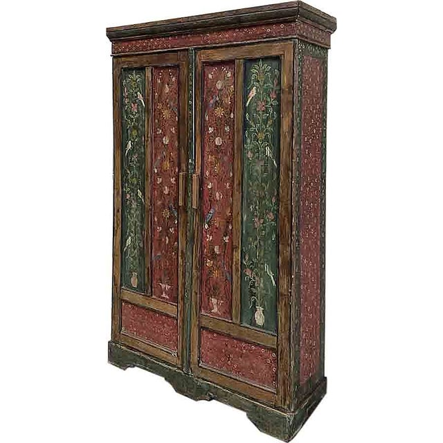 Green & Red Handpainted Armoire - Image 1 of 3
