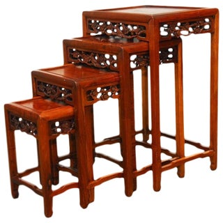 Chinese Rosewood Stacking Tables- Set of 4