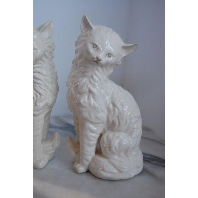 Vintage White Porcelain Cats - A Pair - Image 4 of 8