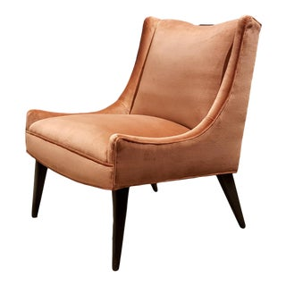 Harvey Probber Salmon Velvet Slipper Chair