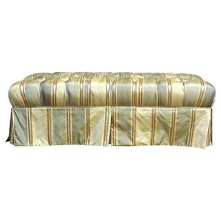 Vintage Tufted Silk Upholstered Bench