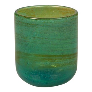 A hand blown Mdina glass tumbler with the characteristic turquoise color signed on the underside from Malta c. 1975