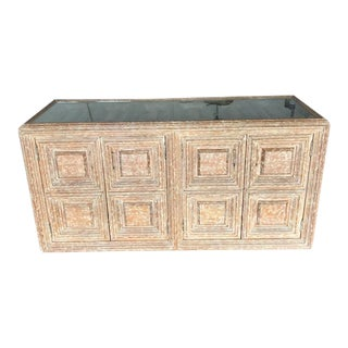 Kreiss Distressed Wood Glass Top Credenza