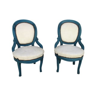 French Leather Antique Balloon Chairs - A Pair