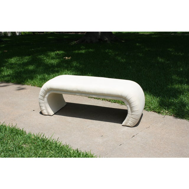 Milo Baughman Style Waterfall Upholstered Bench - Image 3 of 9