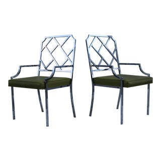 1970's Milo Baughman Chrome Armchairs - Pair