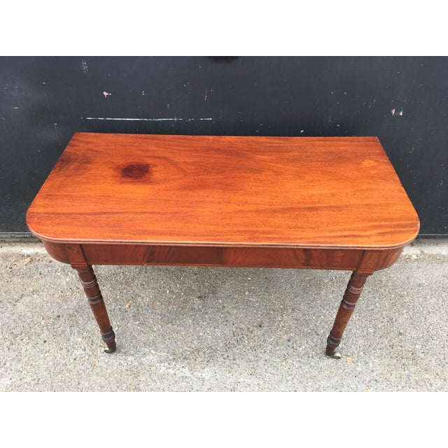 Antique English Walnut Writing Desk on Brass Casters - Image 4 of 11