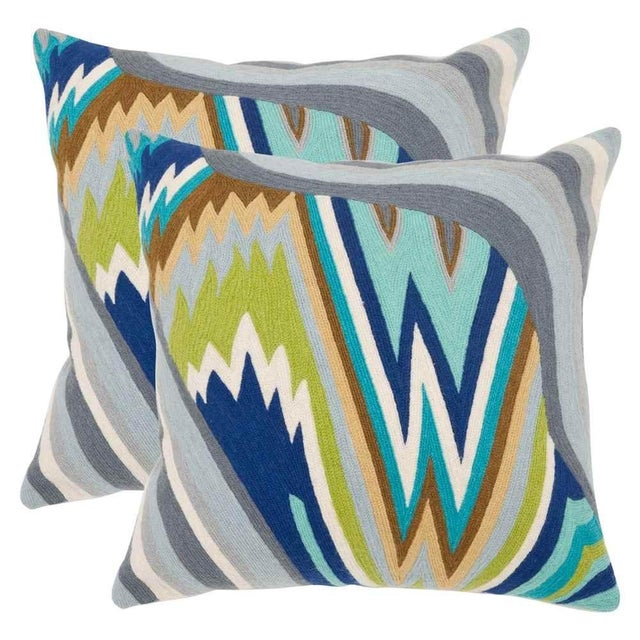 Embroidered Wave Pillows - A Pair - Image 1 of 2