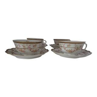 Vintage Floral Tea Cups & Saucers - Set of 4
