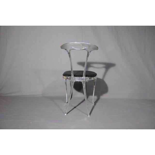 Polished Aluminum & Leather Thinline Chairs - Set of 4 - Image 3 of 4