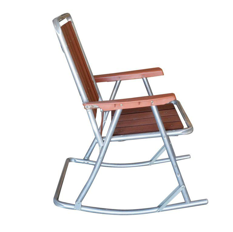 midcentury aluminum and wood outdoor folding rocking chair pair image 2 of