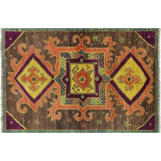 "Modern Hand Knotted Geometric Rug - 6'3"" x 9'4"""