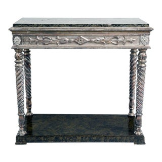 Antique Swedish Parcel Silver Leaf & Marble Console Table, Circa 1840