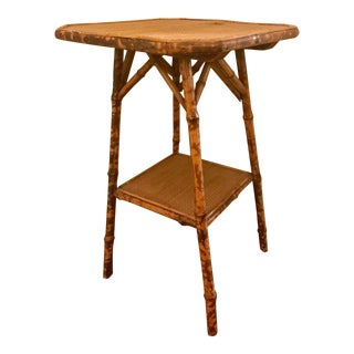 Vintage Bamboo & Cane Side Table