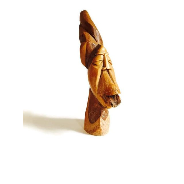 Image of Mid Century Solid Wood Carved African Head Statue