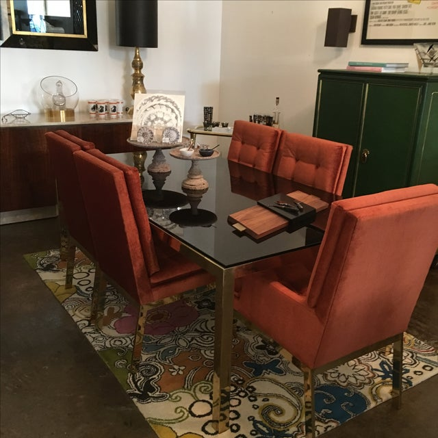 Mid Century Modern Vintage Brass & Glass Dining Table by Milo Baughman / DIA - Image 6 of 6