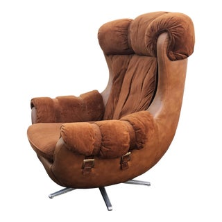 Mid-Century Faux Leather Egg Chair