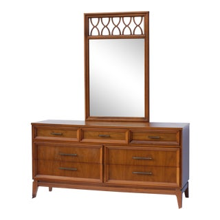 Mid-Century Walnut Style Credenza With Lenoir Mirror