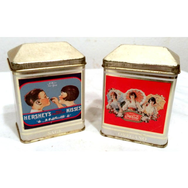 Vintage bristolware tin box co spice tins 6 chairish for Retro kitchen set of 6 spice tins