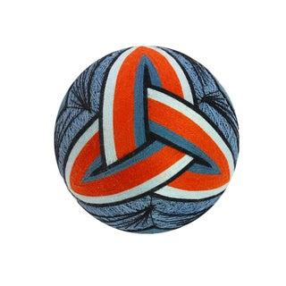 Temari Ball Handmade Blue & Orange Triangle Knot
