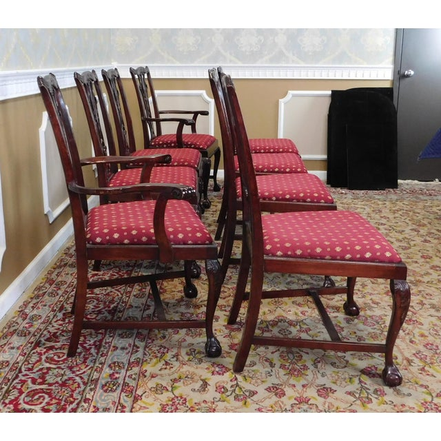 Chippendale Dining Room Set: 1980s Chippendale Style Mahogany Department Store Dining