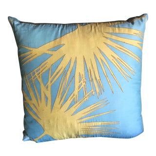 Blue & Neon Green Silk Accent Pillow