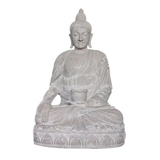 Stone Medicine Bowl Sitting Buddha Figure