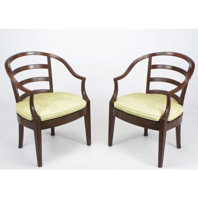 Image of Pair Bert England For Baker Mahogany Barrel Back Arm Chairs