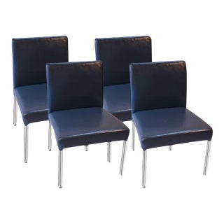 Brayton International Modern Leather Side Dining Chairs - Set of 4