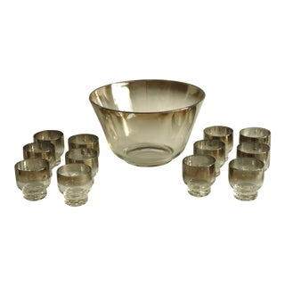 Dorothy Thorpe Style Ombre Punch Bowl & 12 Glasses