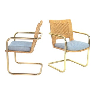 Vintage Mid-Century Paper Cord & Brass Cantilever Armchairs - A Pair