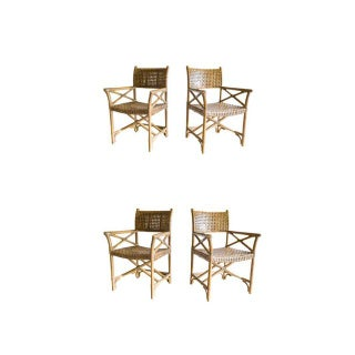 McGuire Laced Rawhide Armchairs - Set of 4