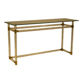 Charles Hollis Jones Hollywood Glam Faux Bamboo Lucite and Brass Console Table