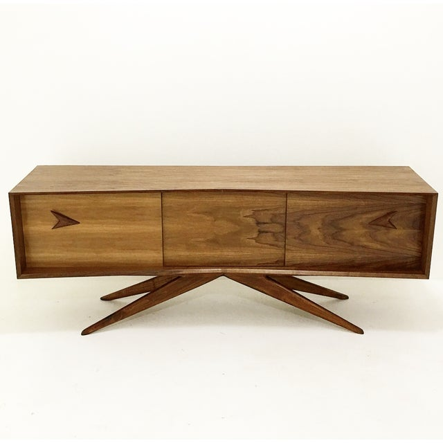 Walnut Credenza With Hand Carved Handles - Image 2 of 5