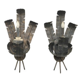 Large Tole Metal Banana and Palm Leaf Wall Sconces - A Pair