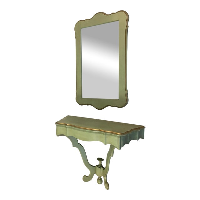 Shabby Mint Green Foyer Demilune Table Wall Shelf & Mirror - A Pair - Image 1 of 9