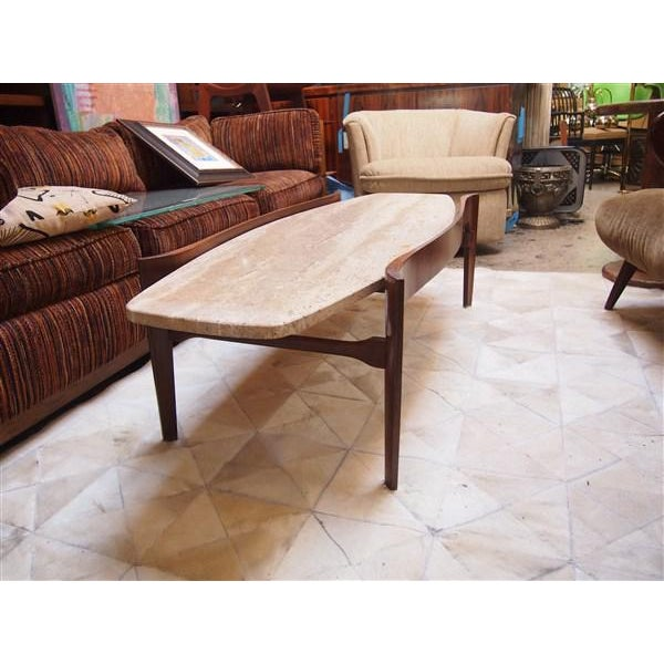 Travertine & Wood American Modern Coffee Table - Image 2 of 4